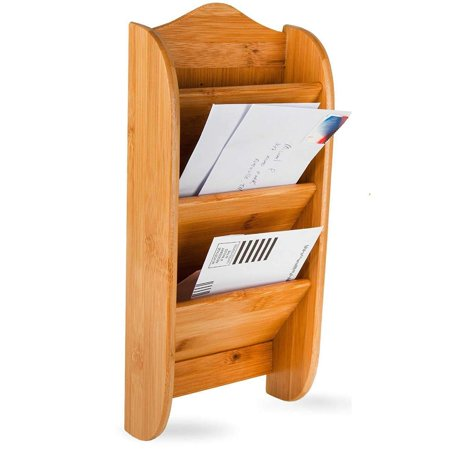 Home Intuition Wall Mount Bamboo Mail Letter Holder Organizer Rack, 3 Slot (Wall Mail Organizers)