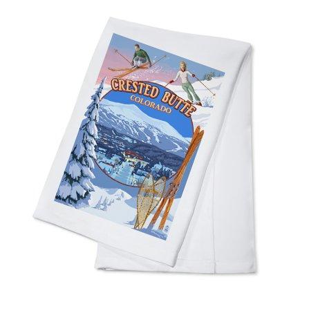 Crested Butte, Colorado - Ski Montage - Lantern Press Artwork (100% Cotton Kitchen Towel) Crested Butte Ski