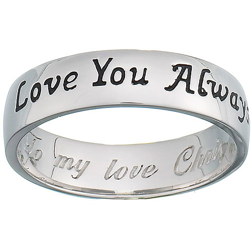 Personalized Sterling Silver ''Love You Always'' Sentiment Band