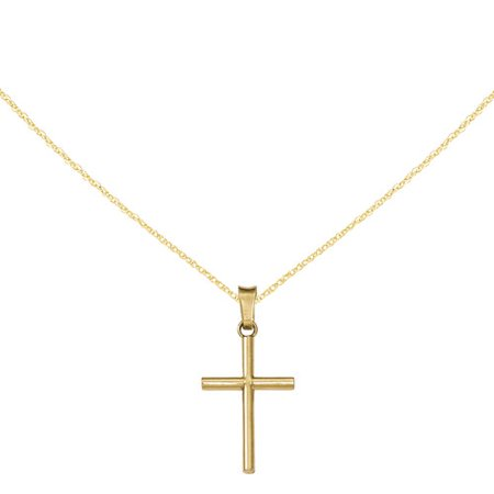 14kt Yellow Gold Polished Cross (Design Polished Cross Pendant)