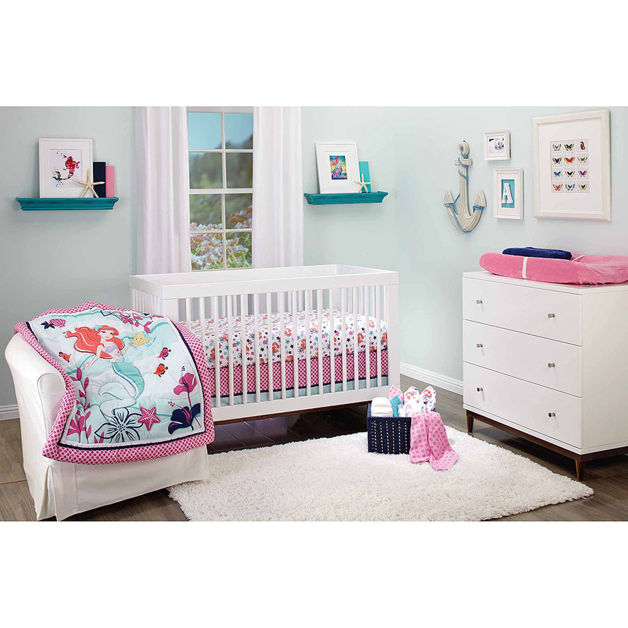 Disney Ariel Sea Treasures 3 Piece Crib Bedding Set Walmart Com Walmart Com