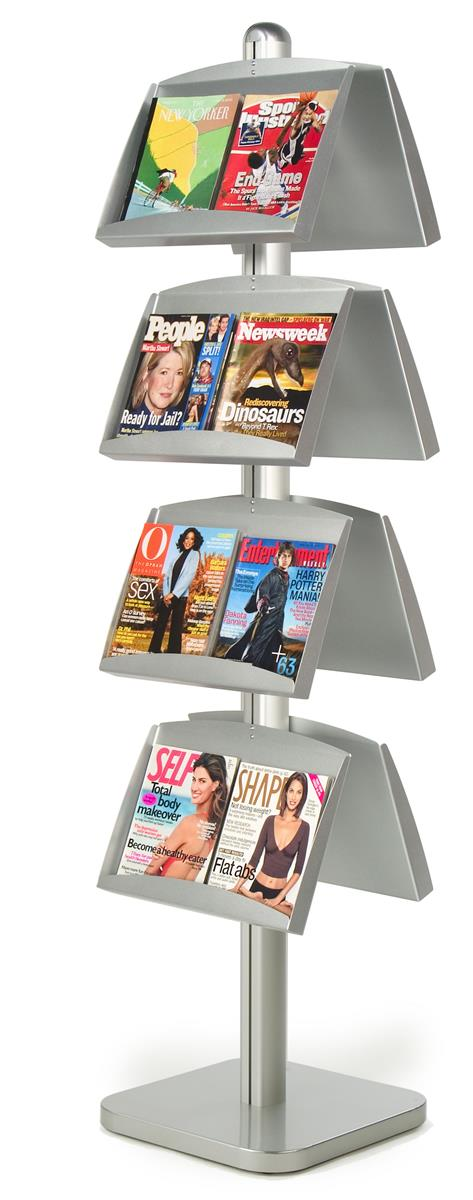 Double-Sided Aluminum Literature Display Stand With 8 Angled Magazine Pockets, Free-Standing, Height Adjustable, Heavy... by Displays2go