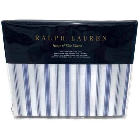 Ralph Lauren Dorsey Job's Lane Stripe Twin Fitted Sheet Blue White (Ralph Lauren Bedding Queen)