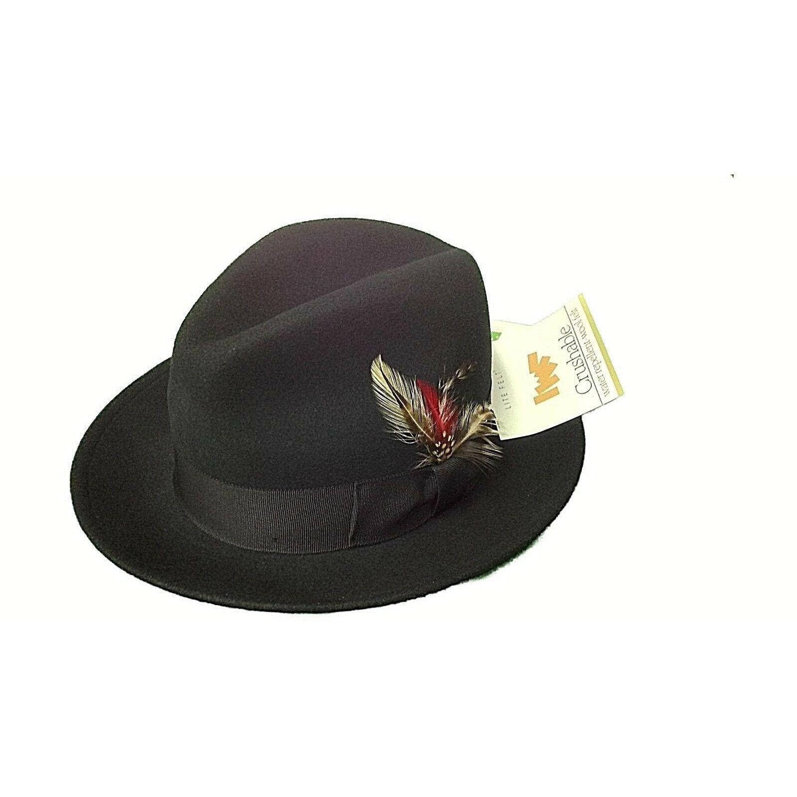 Men Fedora Hat BRONER Crushable Water repellent Soft Wool Above the rest Black