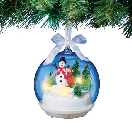 Musical Snowman Christmas Tree Ornament Spinning Globe Decoration (Christmas Decorations Musical Instruments)