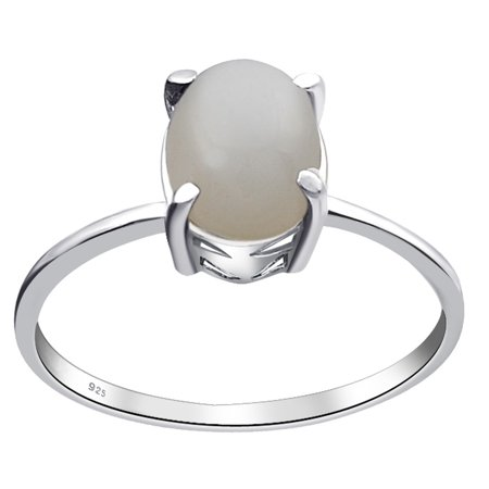 Essence Jewelry 925 Sterling Silver 1.5 Carat Grey Moonstone Oval Cabochon Ring Size -8