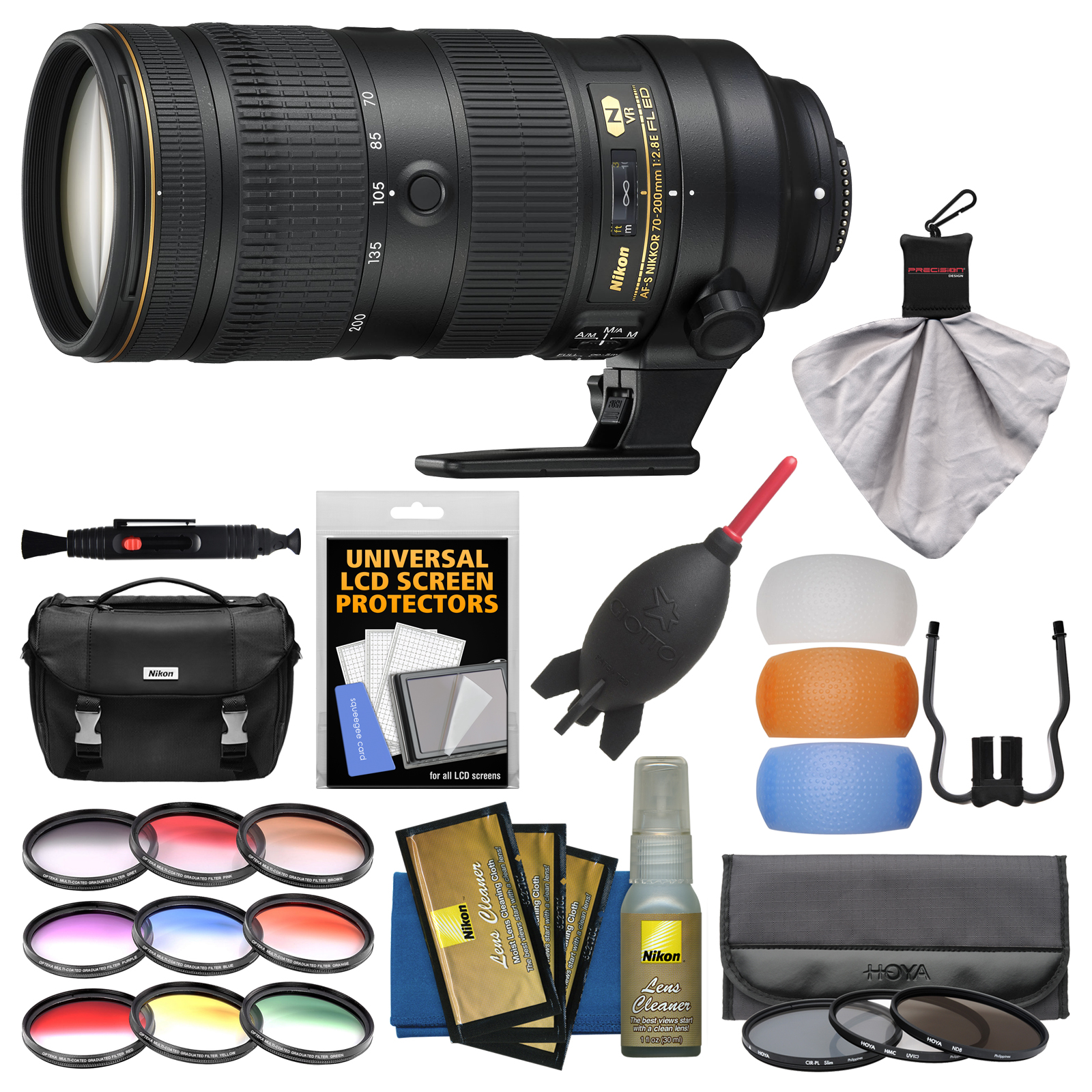Nikon 70-200mm f/2.8E FL VR AF-S ED Zoom-Nikkor Lens with Case + 3 UV/CPL/ND8 Hoya & 9 Color Filters + Kit