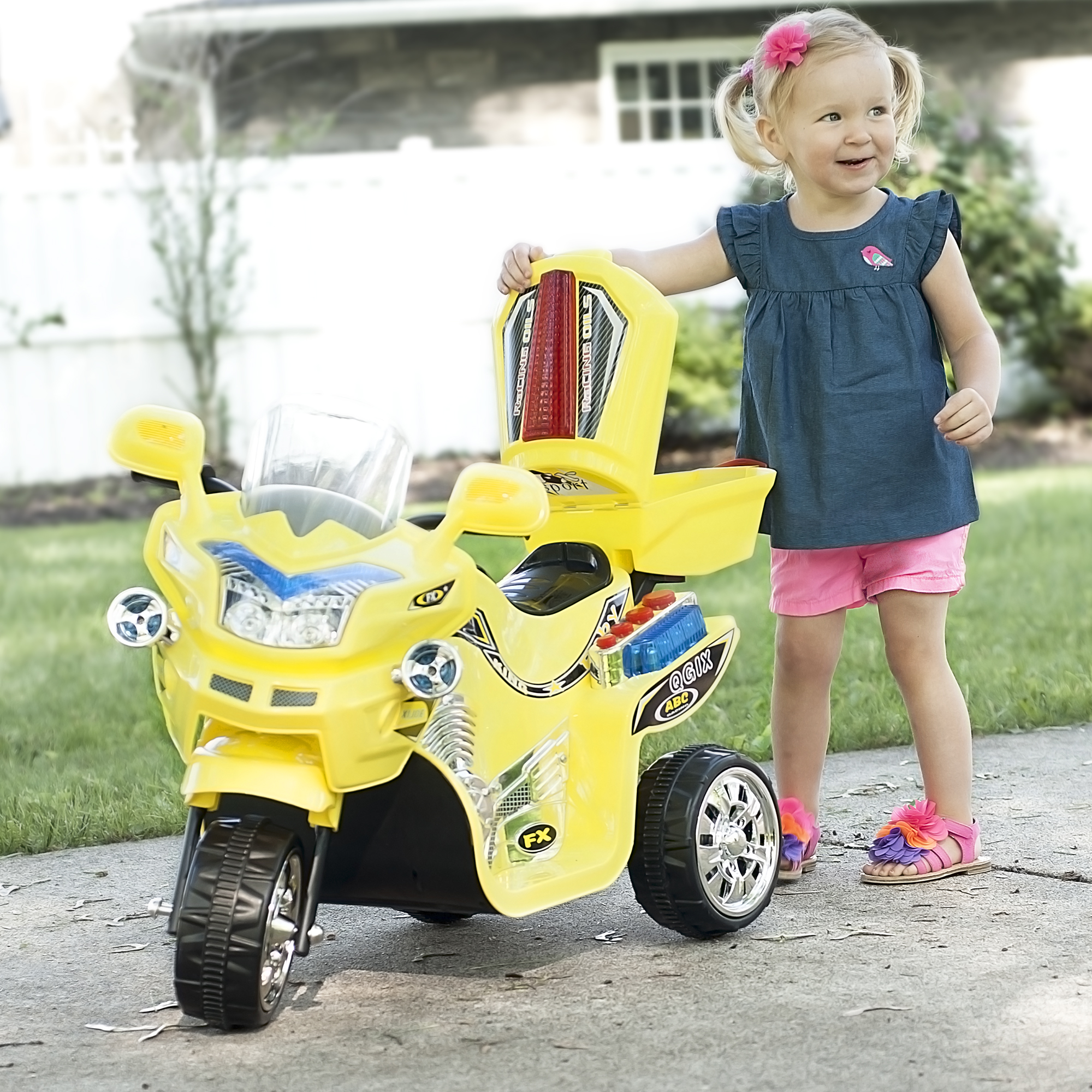 Ride on Toy, 3 Wheel Motorcycle Trike for Kids by Hey! Play! – Battery Powered Ride on Toys for Boys and Girls, 2 - 5 Year Old - Black FX