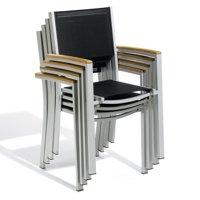 Oxford Garden Travira Sling Dining Armchair Set with Teak Armcaps