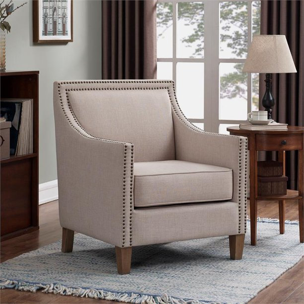 Taslo Sand Polyester Fabric Accent Chair With Nail Head