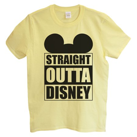 "Funny Mens Mickey Mouse T-shirt ""Straight Outta Disney"" Funny Disney T Shirt Gift For Dad X-Large, Yellow](Dead Mickey Mouse Halloween)"