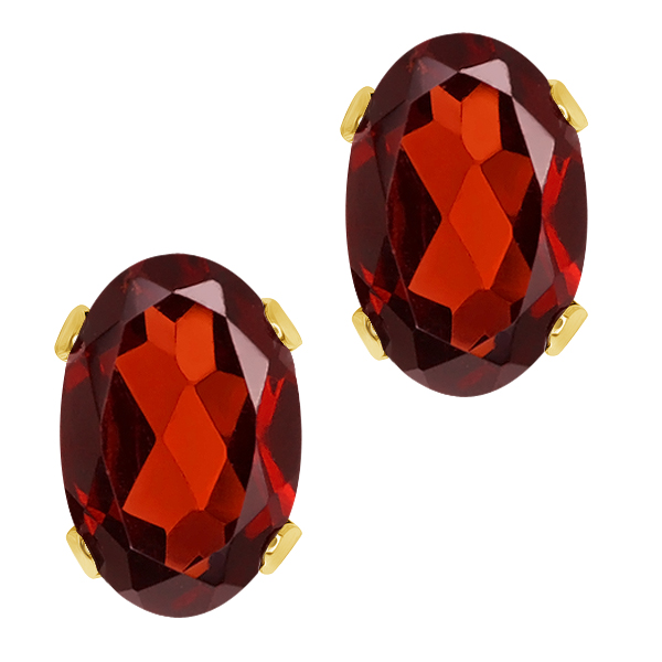 1.10 Ct Oval Shape Red Garnet Yellow Gold Plated Brass Stud Earrings