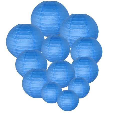 Just Artifacts Decorative Round Chinese Paper Lanterns 12pcs Assorted Sizes (Color: Blue)](Blue And Green Birthday Decorations)