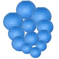 Just Artifacts Decorative Round Chinese Paper Lanterns 12pcs Assorted Sizes (Color: Blue)