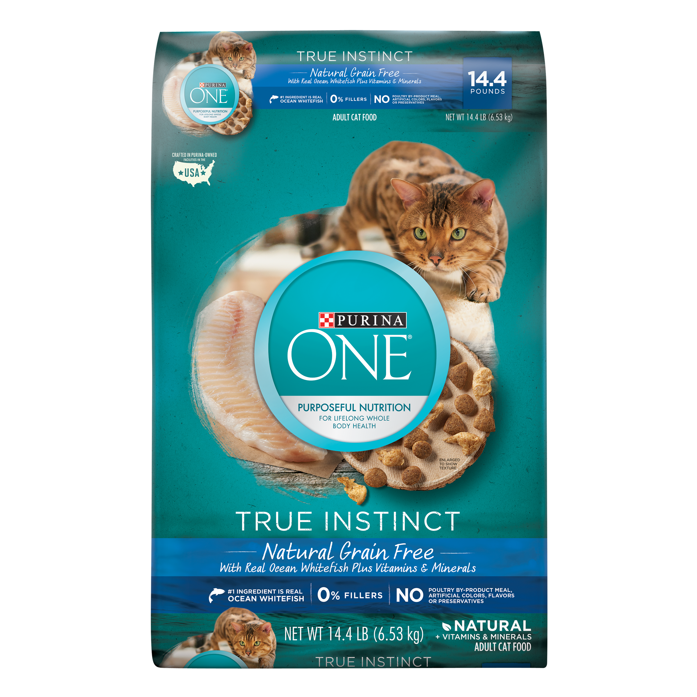 Purina ONE True Instinct Natural Grain-Free With Ocean Whitefish Adult Dry Cat Food, 14.4 lb