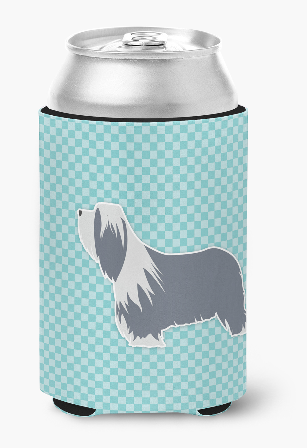 Bearded Collie Checkerboard Blue Can or Bottle Hugger by Caroline's Treasures