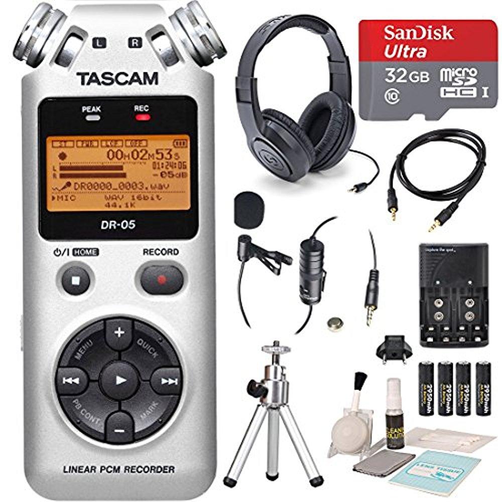 Tascam DR-05 (Version 2) Portable Handheld Digital Audio Recorder (Silver) with Platinum accessory bundle