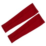Outdoor Sports Training Arm Sleeves Long Glove Sun UV Protection Red 2XL Pair