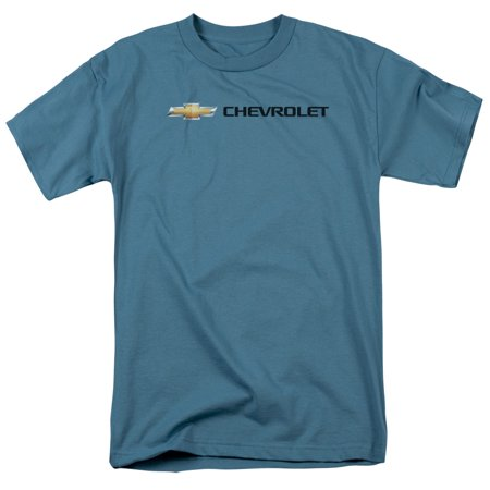 Chevrolet Automobiles Chevy Classic Bowtie Logo On Slate Adult T Shirt Tee