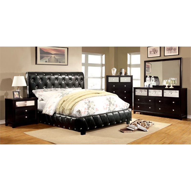Furniture of America Morella 4 Piece Queen Bedroom Set in Black by Furniture of America