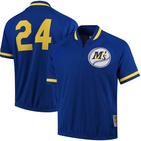 on sale f1f55 d2616 Ken Griffey Jr. Seattle Mariners Mitchell & Ness Cooperstown Collection  Mesh Batting Practice Quarter-Zip Jersey - Royal