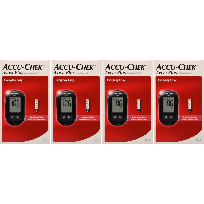 4 Pack Accu-Chek Aviva Plus Blood Glucose Monitoring System Kit