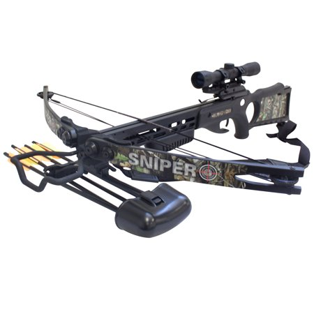 SAS Sniper 150lbs Next G1 Camo Crossbow Package Hunting Deer with Quiver (Best Crossbow For Whitetail Deer Hunting)