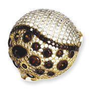 Sterling Silver Gold-plated White & Brown CZ Ring