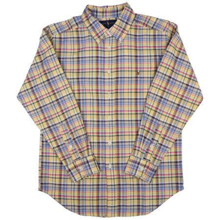 Polo Ralph Lauren Big Boys' (8-20) Plaid L/S Oxford Shirt-Yellow/Plaid Boys Ralph Lauren Button