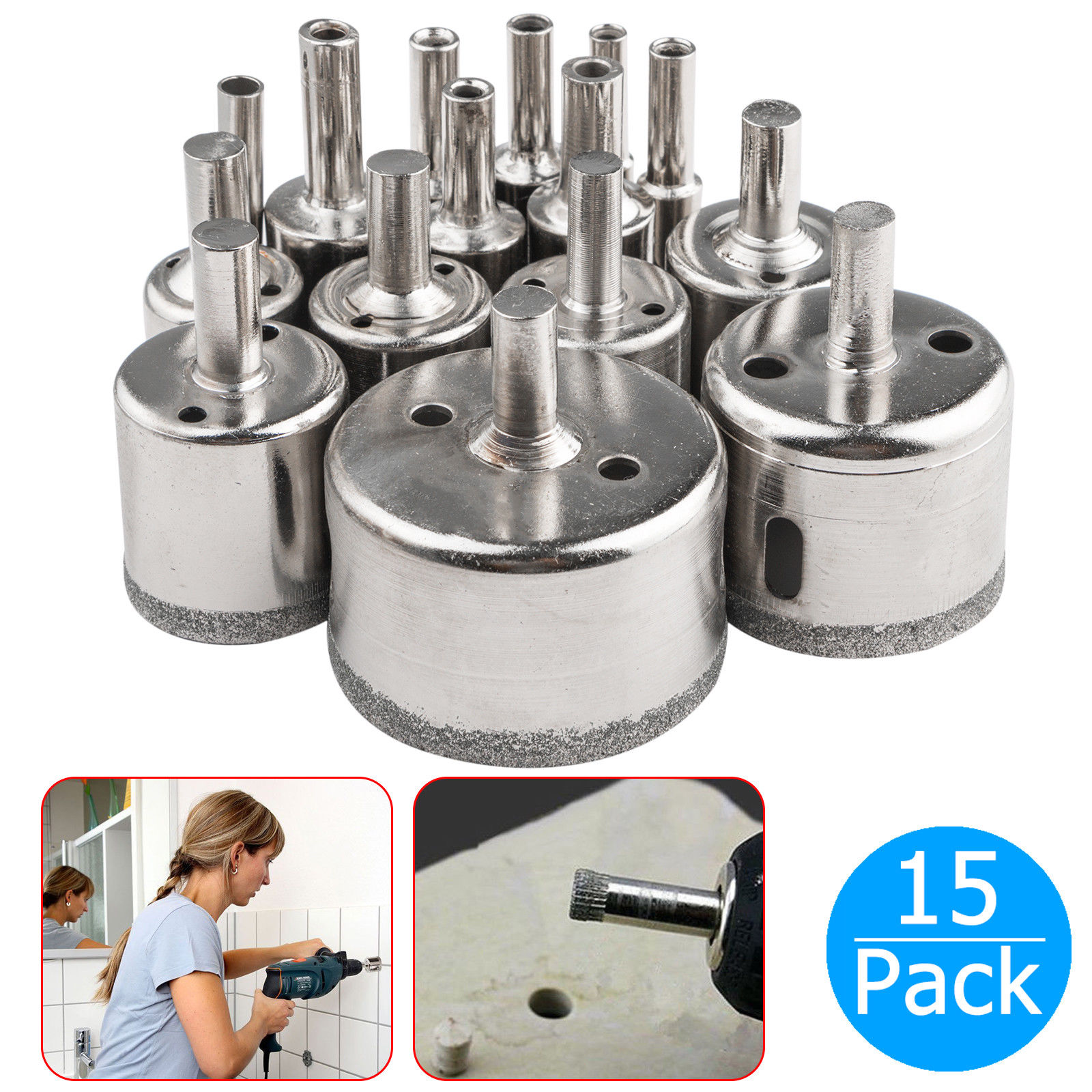 15-pack Diamond Hole Saw Drill Bit Set Cutting Tool for Tile Marble Glass 6mm-50mm