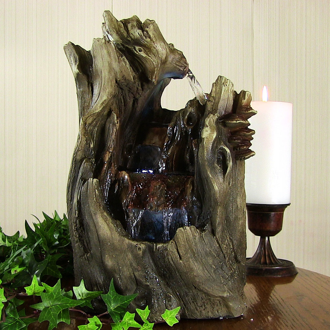 Sunnydaze Cascading Caves Waterfall Tabletop Fountain with LED Lights, 14 Inch by Sunnydaze Decor