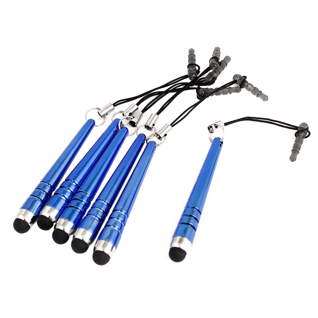 6pcs Anti Dust Capacitive Touch Screen Stylus Pen Blue for Cell Phone