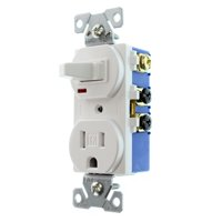 Hubbell RC108WTRZ Combo Toggle Switch & Receptacle, TR Outlet, 15-Amp, 120-Volt, White