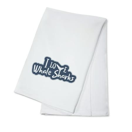 Die Cut Cotton (I love Whale Sharks - Die Cut Sticker Style - Lantern Press Artwork (100% Cotton Kitchen Towel))