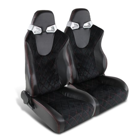 Spec-D Tuning Black Suded Leather Speed Racing Seats W/Red Checked Style Stitching (Left +
