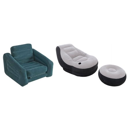 Intex Inflatable Pull-Out Chair Twin Bed Air Mattress & Inflatable Lounge Chair](Air Chairs)