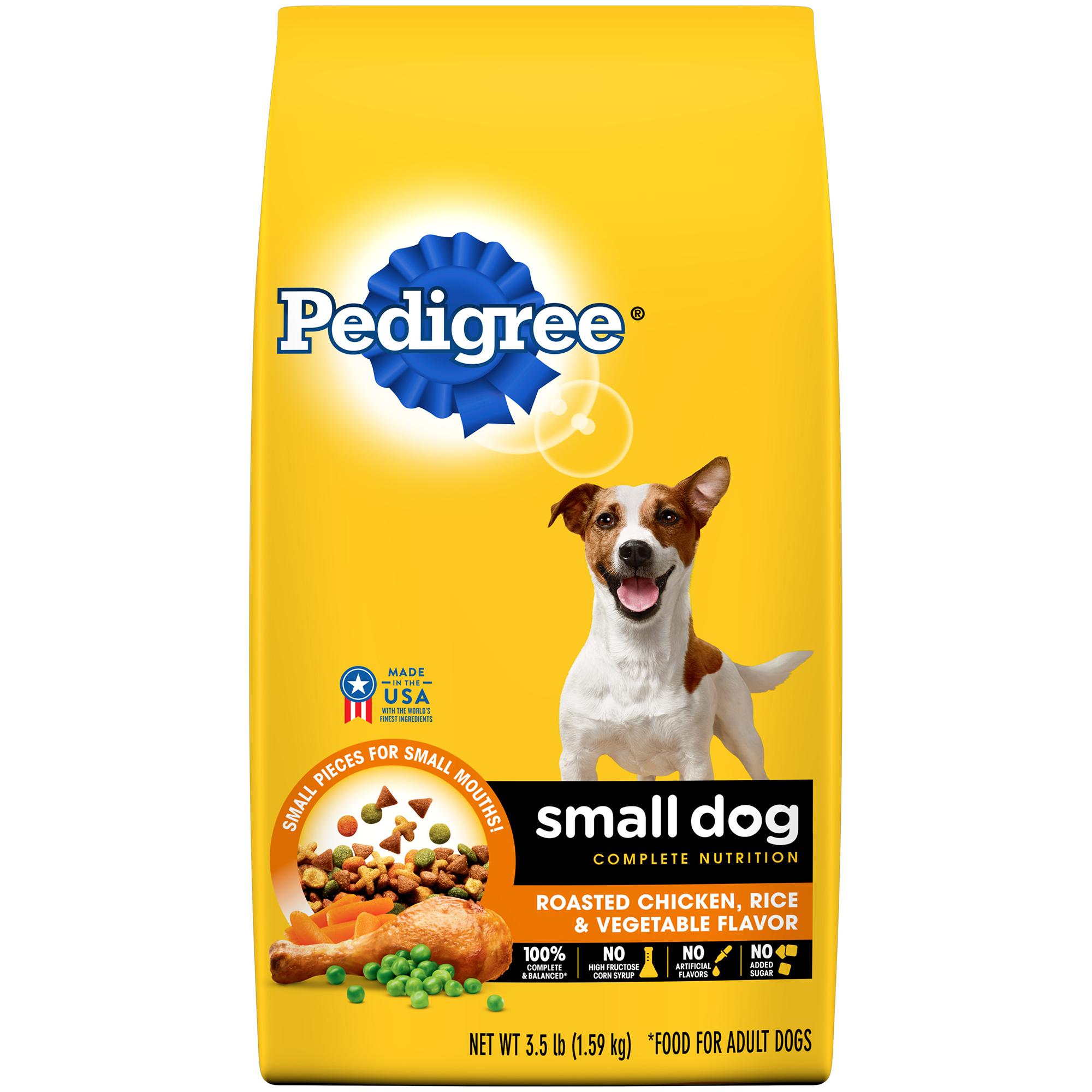PEDIGREE Small Dog Complete Nutrition Adult Dry Dog Food Roasted Chicken, Rice & Vegetable Flavor, 3.5 lb. Bag
