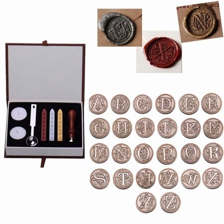 Box Stock Stamp (Vintage 26 Letter A-Z Alphabet Initial Seal Wax Badge Stamp Kit with Wicks Gift Box Set,A)