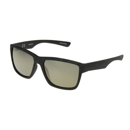 Panama Jack Men's Black Mirrored Rectangle Sunglasses (Black Wood Sunglasses)