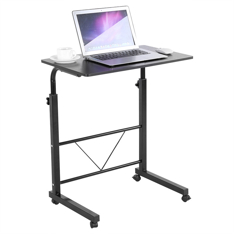 Laptop Rolling Cart Portable Desk with Wheels Adjustable Height Laptop Desk/Cart/Stand Sofa Bedside Table for Home Office(black)