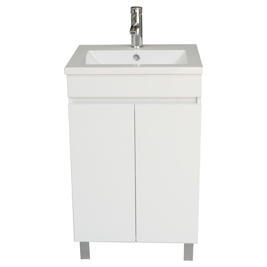 White Bathroom Vanity Cabinet Wood Set & Single Undermount Vessel Sink w/ Faucet