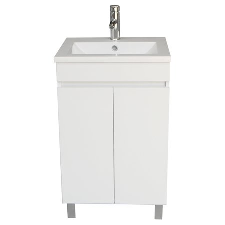 White Bathroom Vanity Cabinet Wood Set Single Undermount Vessel