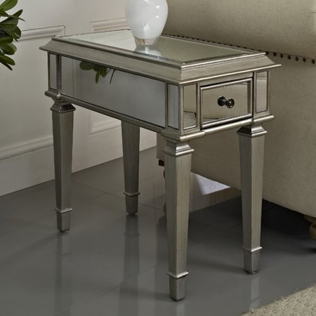 Powell Silver Mirrored Side Table 233 685