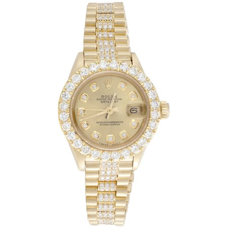 Rolex 18K Gold President 26mm DateJust 69178 VS Diamond Champagne Watch 4.46 (18k Solid Wrist Watch)