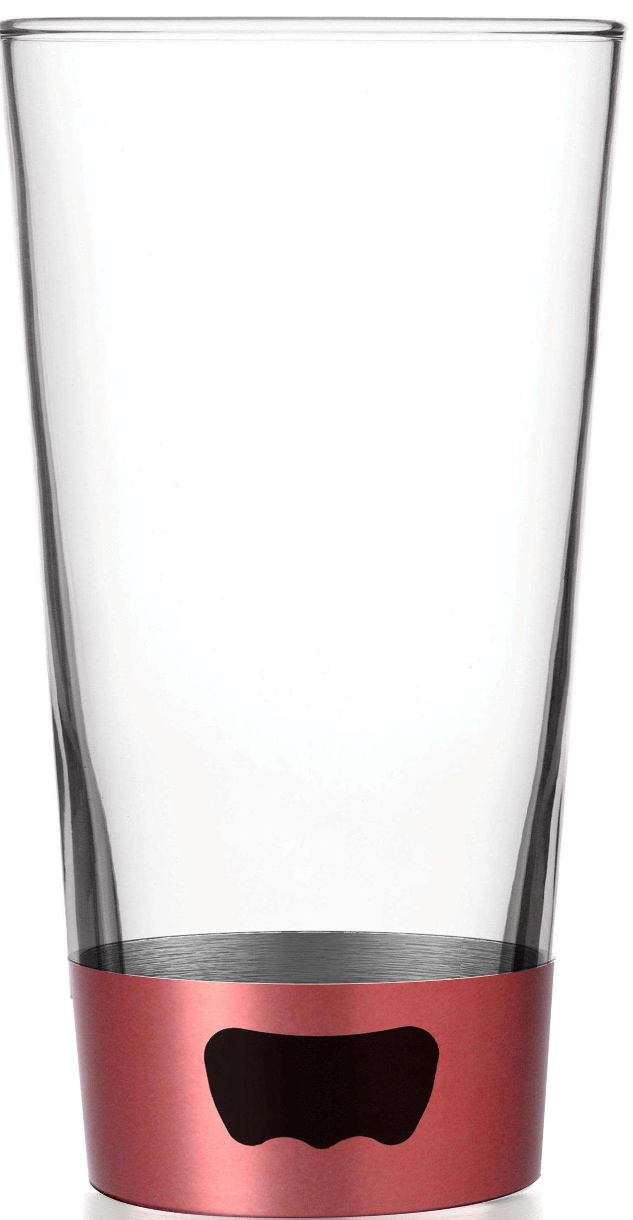 ASOBU Pint Glass Beer Mug with Beer Opener Base, Red 16 oz by AD-N-ART INC