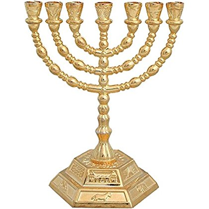 Jewish Candle sticks menorah - 7 branches - 12 tribes of Israel Menorah (Golden)