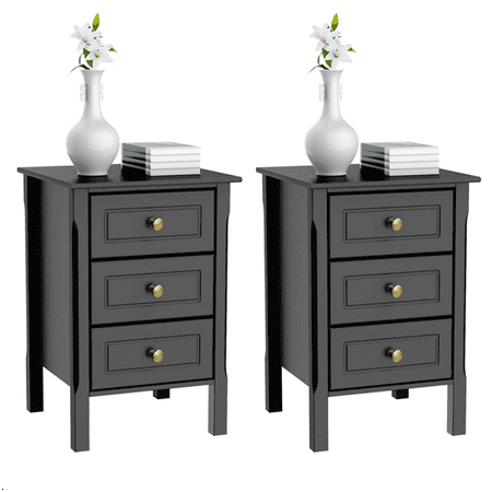 Topeakmart 2PCS 3 Drawers Nightstand Tall End Table Storage Wood Cabinet Bedroom Side Storage Black (Cabinet End Panels)
