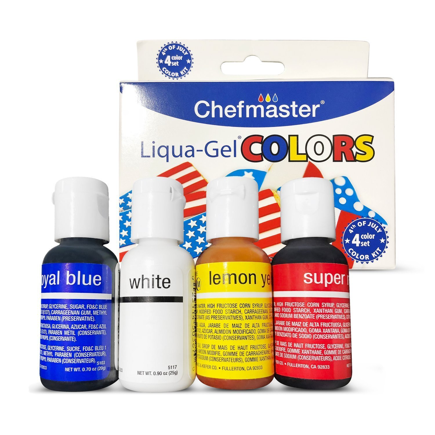 Chefmaster 4th of July Food Coloring Kit, 4-Pack Gluten Free Food ...