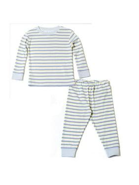 Organic Cotton Baby Long Johns - Blue Crème Stripe 6m