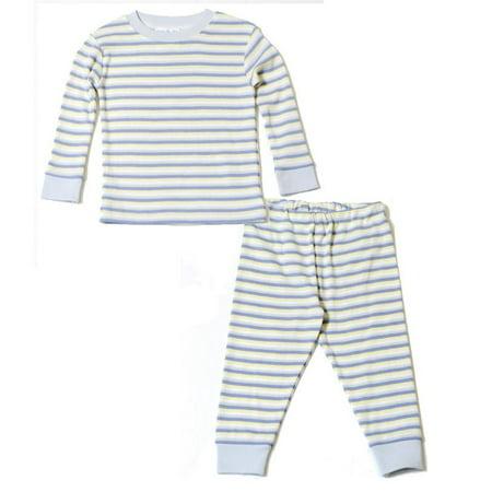 Organic Cotton Baby Long Johns - Blue Crème Stripe - John Deere Embroidered Onesie